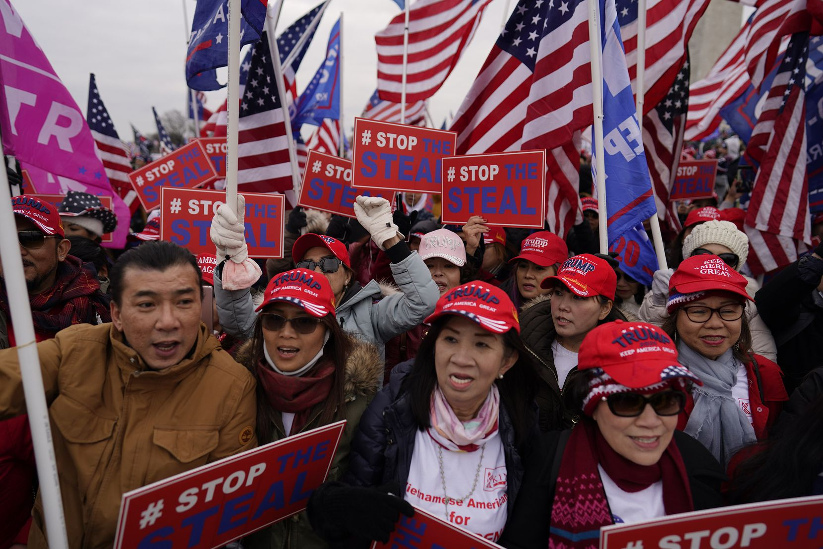 Protesters gather on the second day of pro-Trump events fueled by President Donald Trump's continued claims of election fraud in an attempt to overturn the results before Congress finalizes them in a joint session of the 117th Congress on Wednesday, Jan. 6, 2021 in Washington, D.C. (Kent Nishimura/Los Angeles Times/TNS)