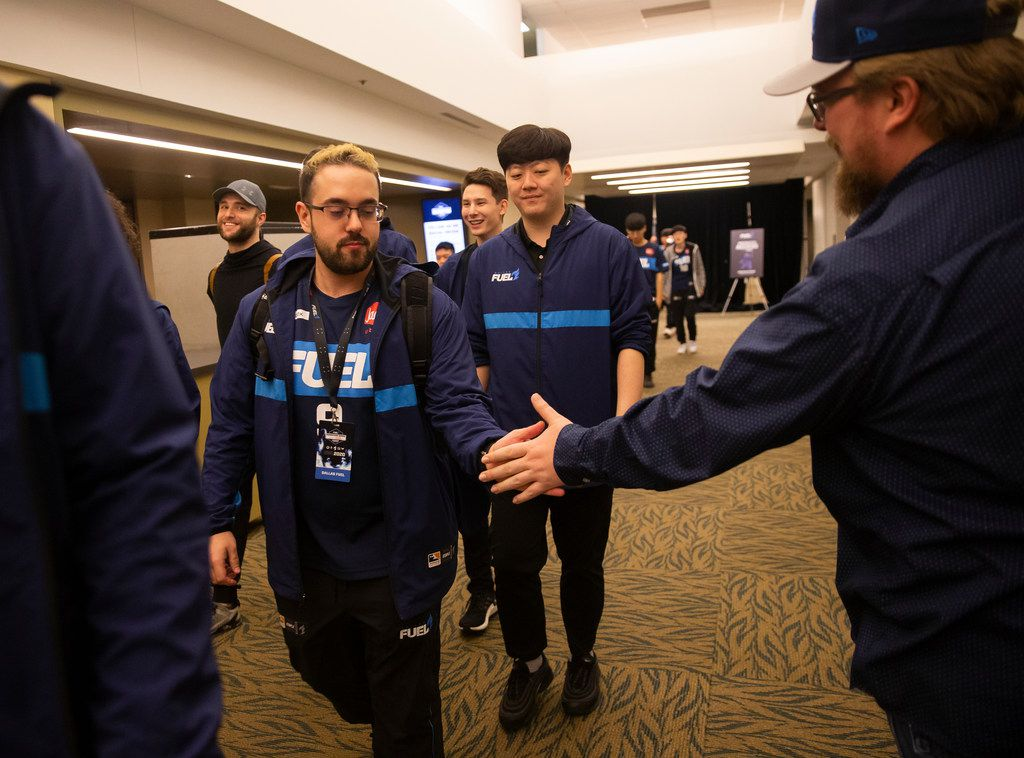 Jonathan 'HarryHook' Tejedor Rua of the Dallas Fuel high fives a fan following their 3-1 loss to the San Francisco Shock during the Overwatch League on Feb. 9, 2020 at the Esports Stadium in Arlington. The Fuel lost 3-1. (Juan Figueroa/ The Dallas Morning News)