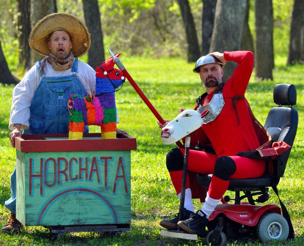 From left, Anthony L. Ramirez (Sancho Panza) and Jim Jorgensen (Quixote) in Shakespeare Dallas' production of Quixote at Samuell Grand Amphitheater. TACA's Artist Residency Fund helped finance the show.