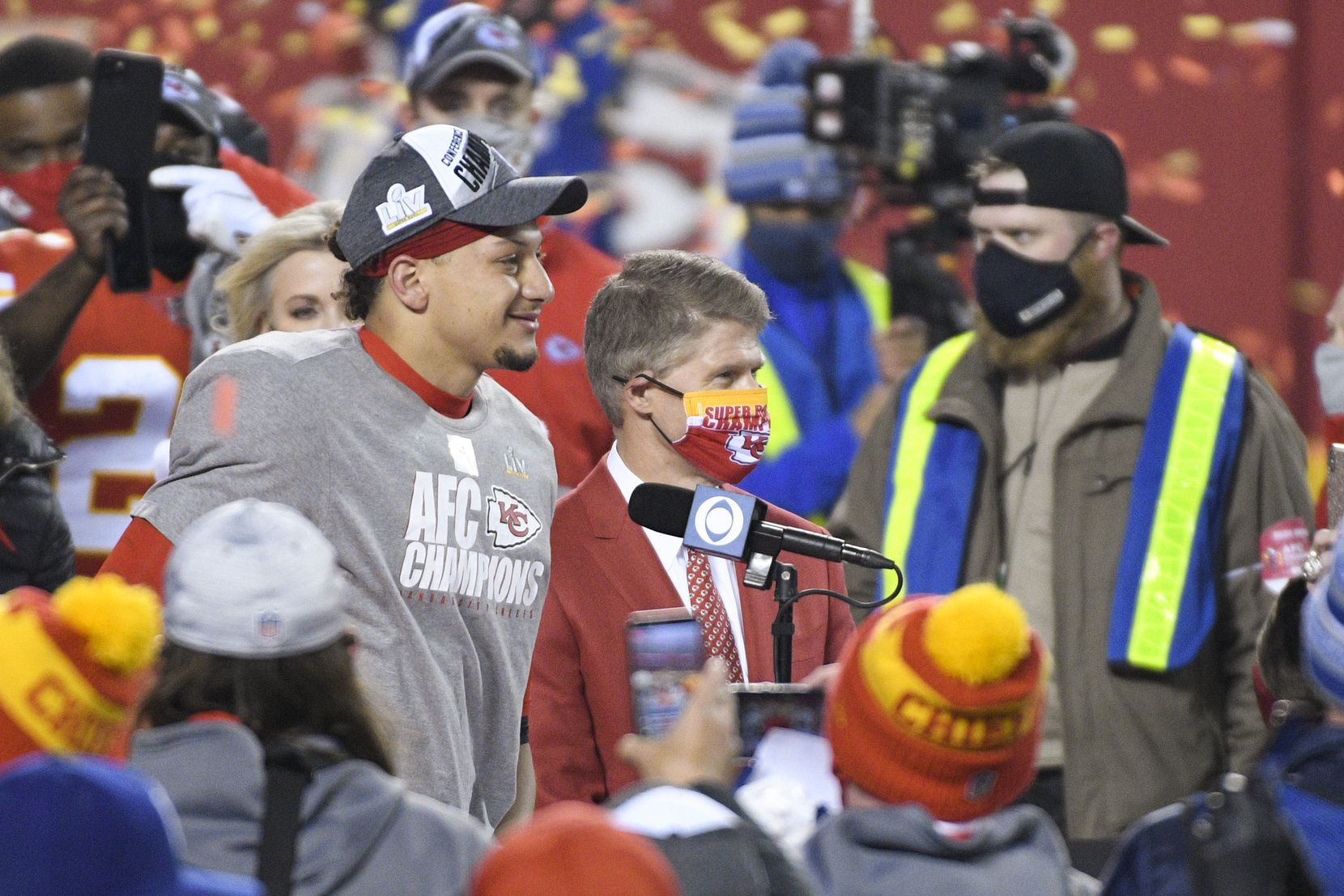 With team owner Clark Hunt beside him, Chiefs quarterback Patrick Mahomes gave an interview after Kansas City beat the Buffalo Bills in the AFC championship game two weeks ago.