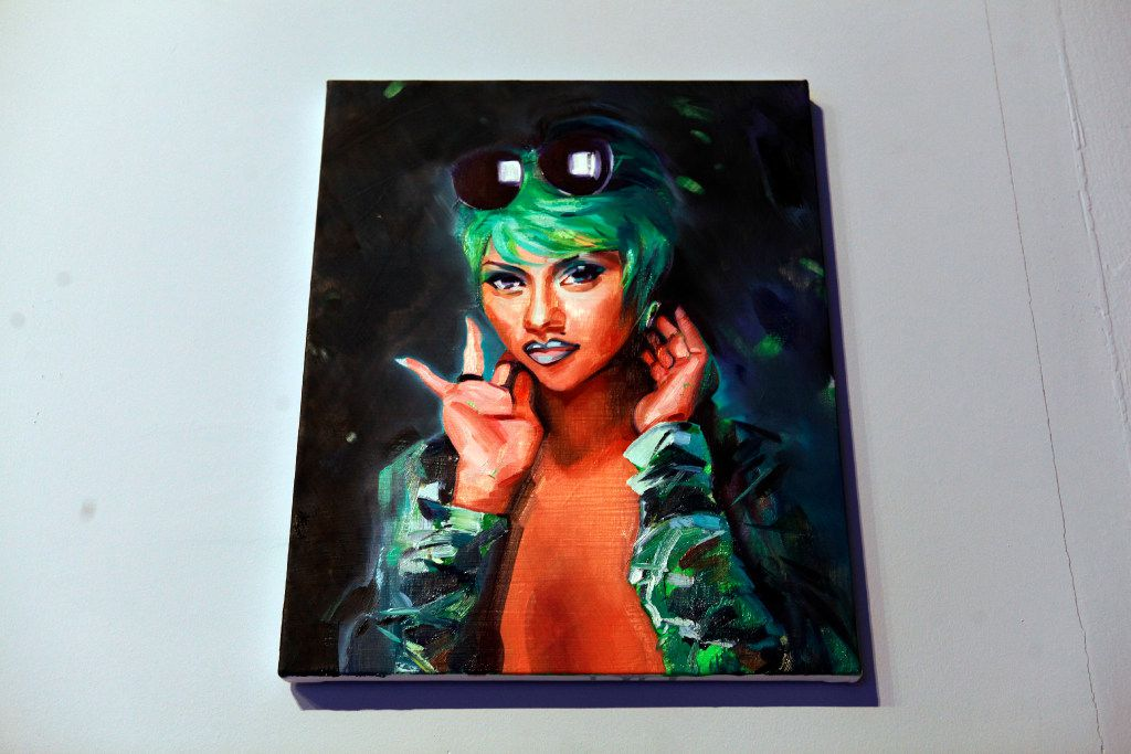 An oil and acrylic on canvas titled Lil' Kim (Crush on You), by Sam McKinniss, on display during the MTV Re:Define gala at the Dallas Contemporary, Friday evening, March 24, 2017 in Dallas. Ben Torres/Special Contributor