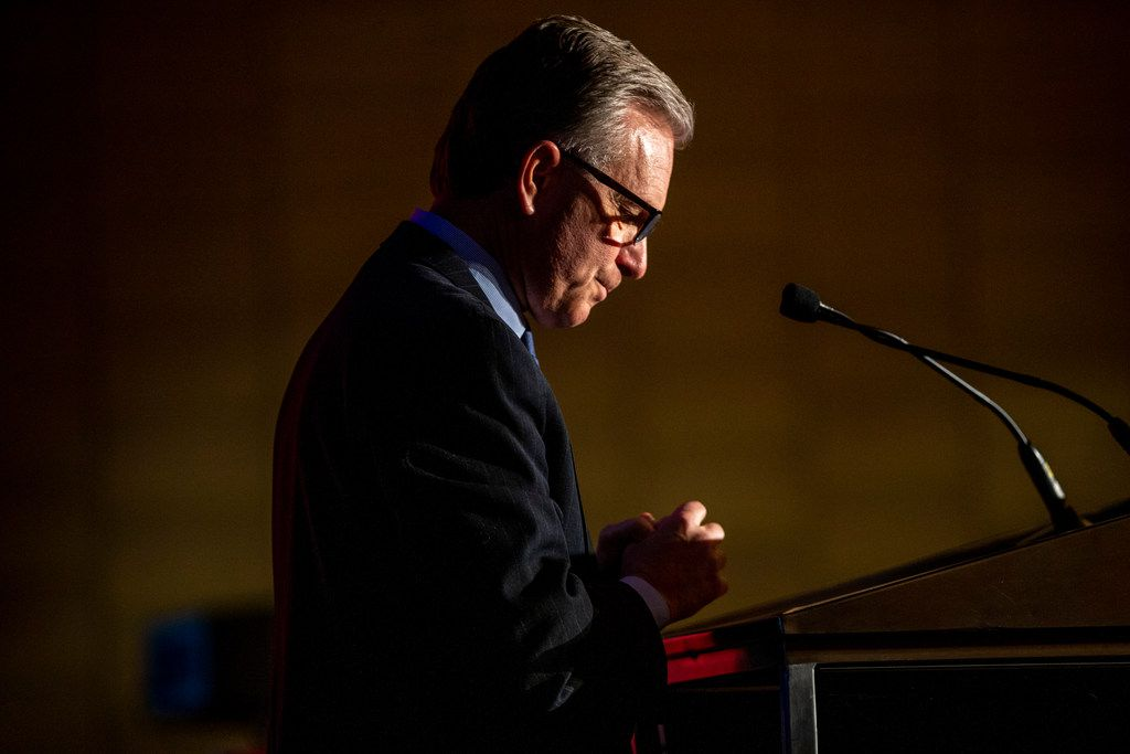Dale Petroskey, president and CEO of Dallas Regional Chamber, gives remarks during Rawlings final State of the City address at the Dallas Regional Chamber luncheon at the Hyatt Regency Dallas on Tuesday, December 4, 2018. (Shaban Athuman/The Dallas Morning News)