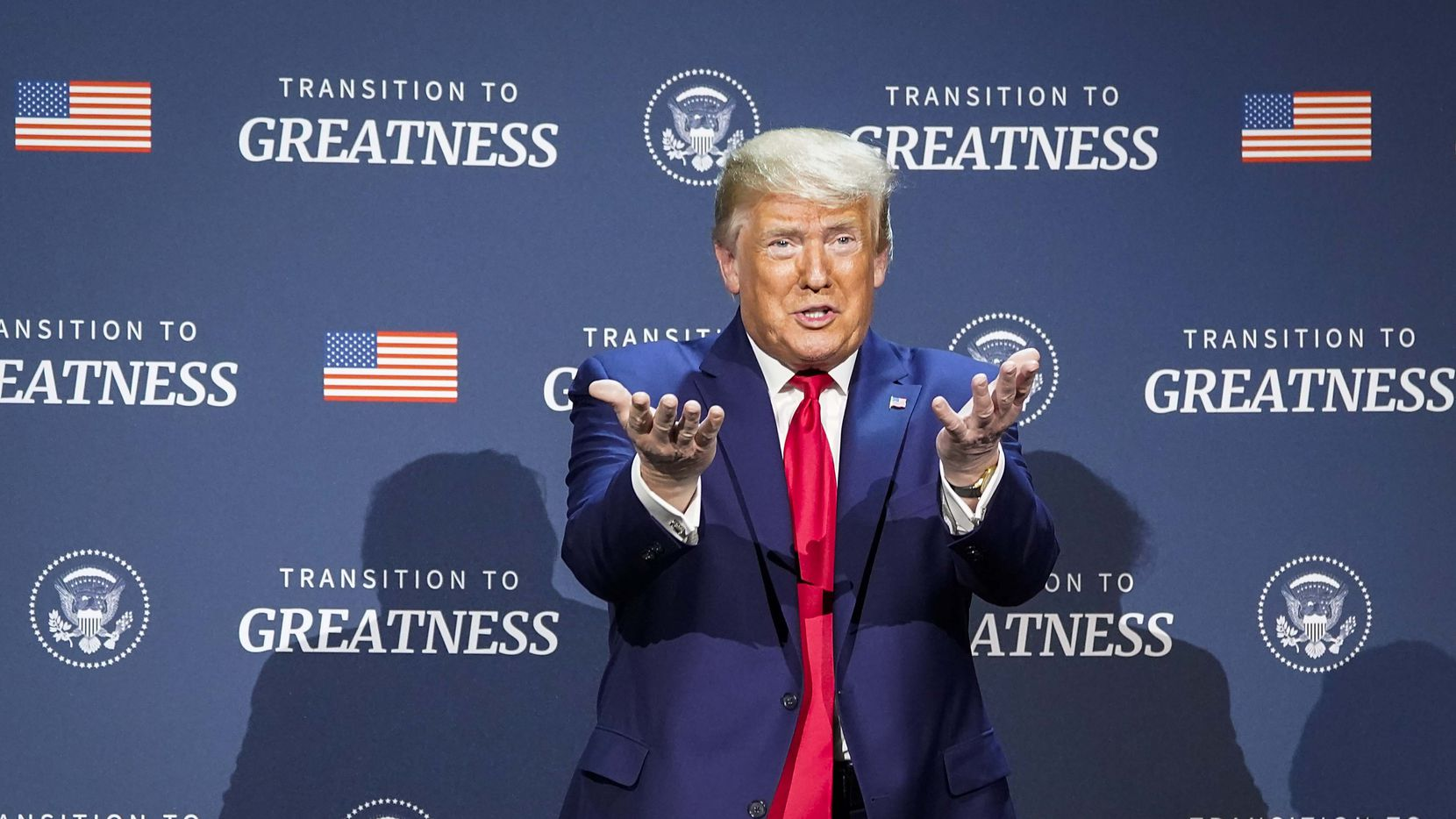 President Donald Trump motions to the audience as he participates in a roundtable conversation about race relations and policing at Gateway Church Dallas Campus on June 11, 2020, in Dallas. (Smiley N. Pool/The Dallas Morning News)