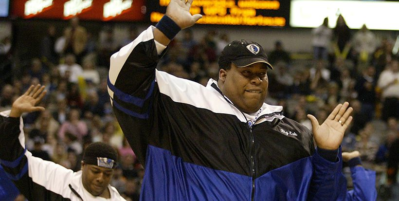 Erbie Lee Bowser performs with the Dallas Mavericks ManiAACs during a game in February 2004 at American Airlines Center.