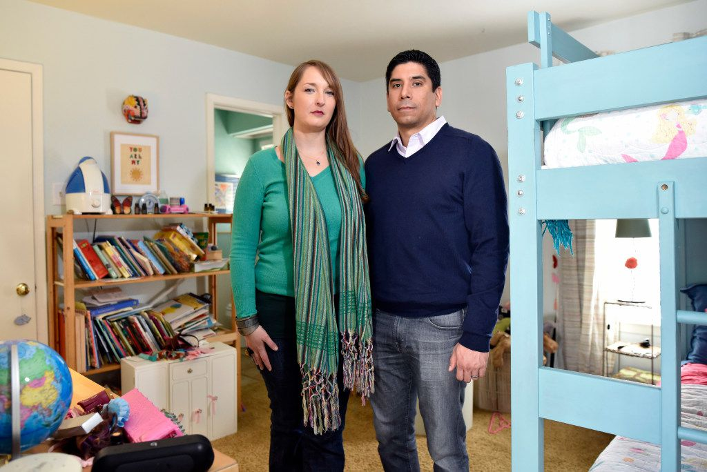 Rachel and Frank Gonzales, shown in their transgender daughter's room at their Dallas home, worry about how actions in Austin and Washington will affect her rights and safety. (Ben Torres/Special Contributor)