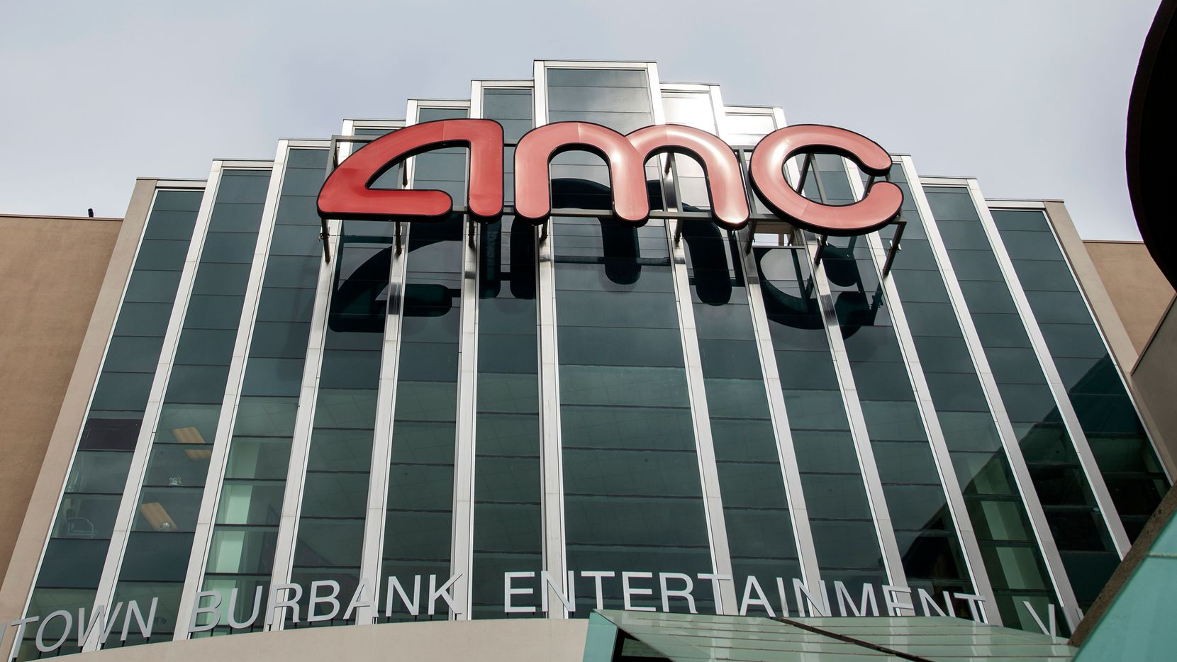 This May 12, 2020 photo shows a closed AMC theater in Burbank, Calif.