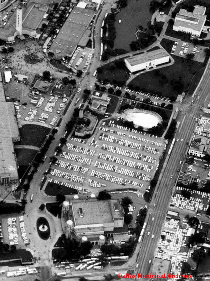 An aerial view of the Fair Park pool. The pool closed in 1959.