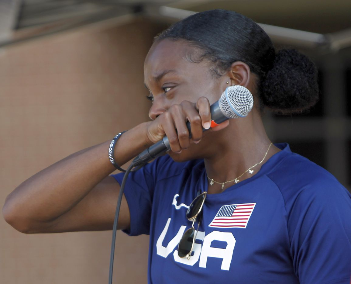 An emotional Jasmine Moore pauses while speaking about given the opportunity to represent her sport on the highest stage in the upcoming Tokyo Olympics. The Olympic Send-Off for the Mansfield Lake Ridge graduate was held at Danny Jones Middle School in Mansfield on July 21, 2021. (Steve Hamm/ Special Contributor)