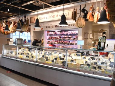 Cheese, salami  and other cured meats at Eataly.