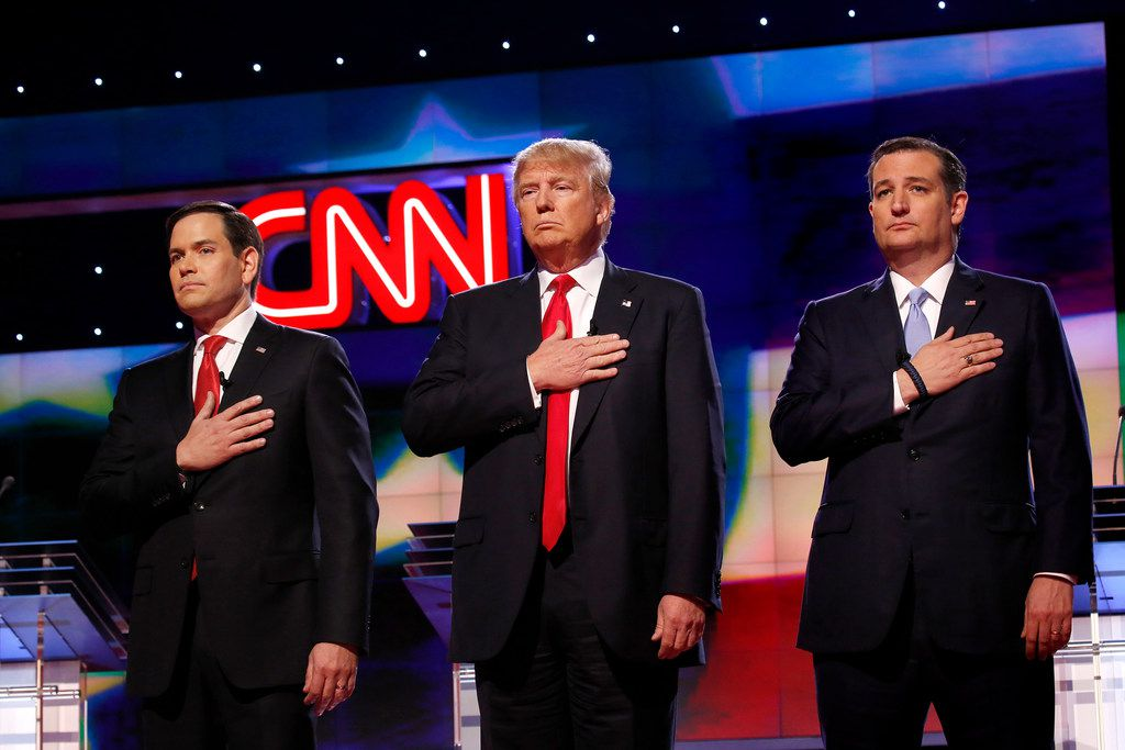 President Donald Trump, shown flanked by GOP primary election foes Marco Rubio (left) and Ted Cruz (right), has been outspoken in his criticism of CNN.
