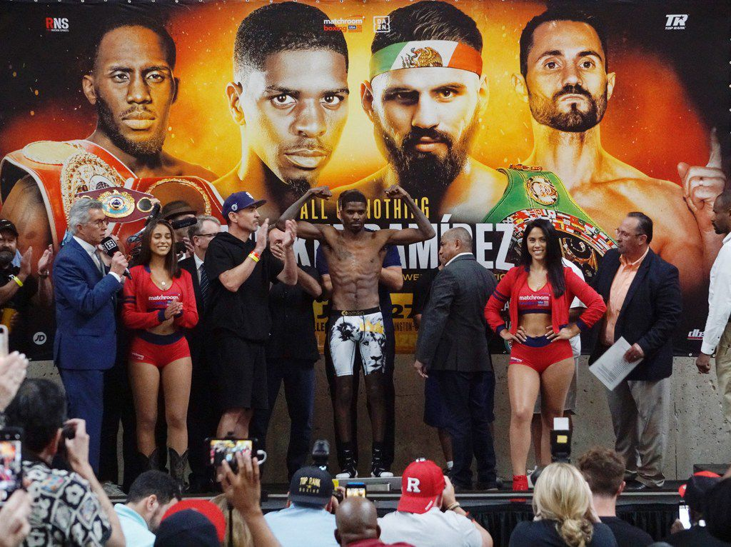 Super-Lightweight fighter Maurice Hooker weighs in at the Hall of State at Fair Park in Dallas, TX on Friday July 26, 2019. Hooker will be fighting Jose Ramirez for the Super-Lightweight title. (Lawrence Jenkins/Special Contributor)