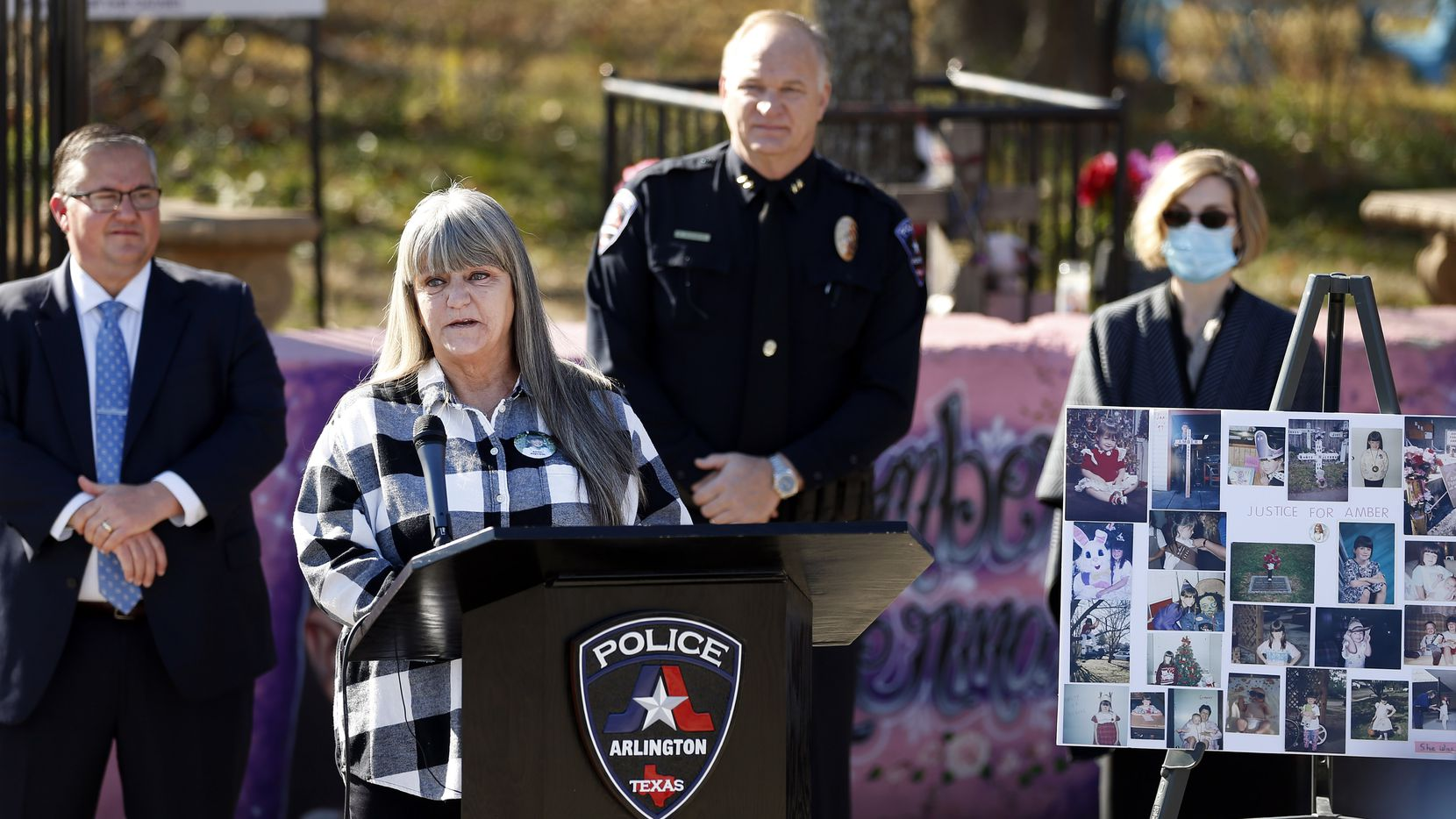 Amber Hagerman's mother Donna Williams makes a plea for her daughter's killer to turn himself in during a press conference at the abduction site in Arlington on Wednesday.