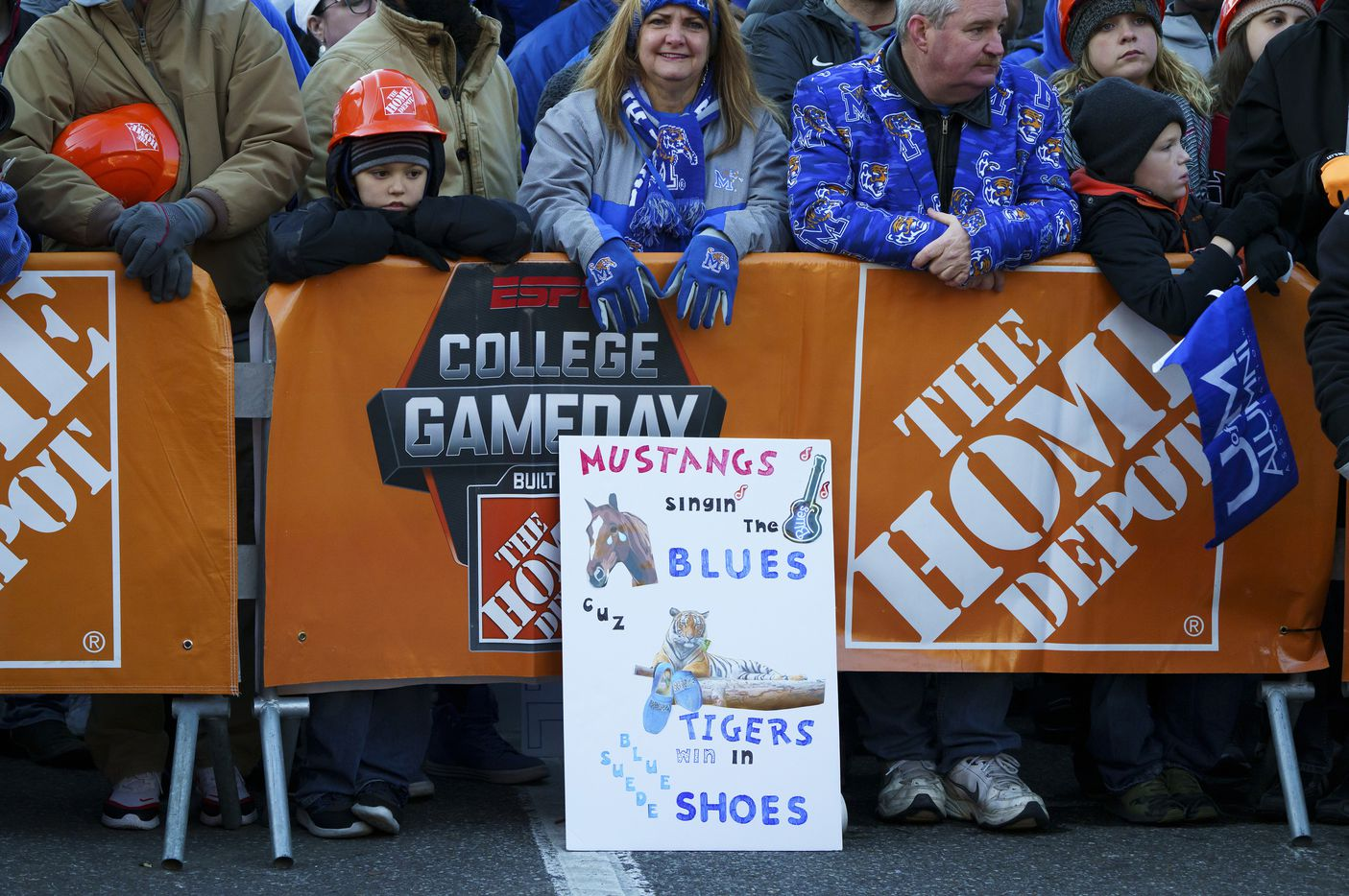 Fans crowd against a barrier during ESPN College GameDay before an NCAA football game between Memphis and SMU on Saturday, Nov. 2, 2019, in Memphis, Tenn.