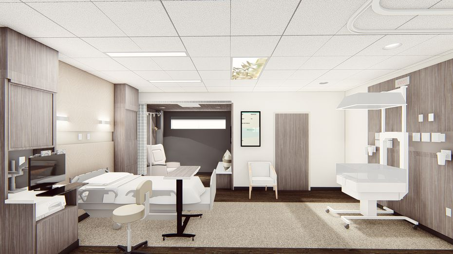 A rendering of a new labor and delivery room planned at the center.