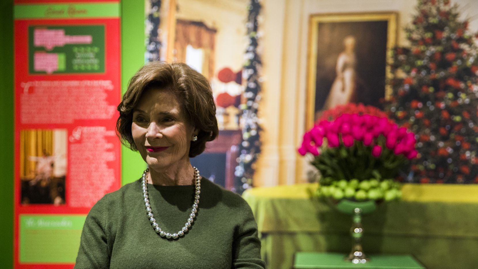 """Former first lady Laura Bush talked Tuesday about the """"All Things Bright and Beautiful"""" holiday exhibit at the George W. Bush Presidential Center in Dallas. The exhibit highlights Christmas and holiday decorations that were featured in the White House in 2005."""