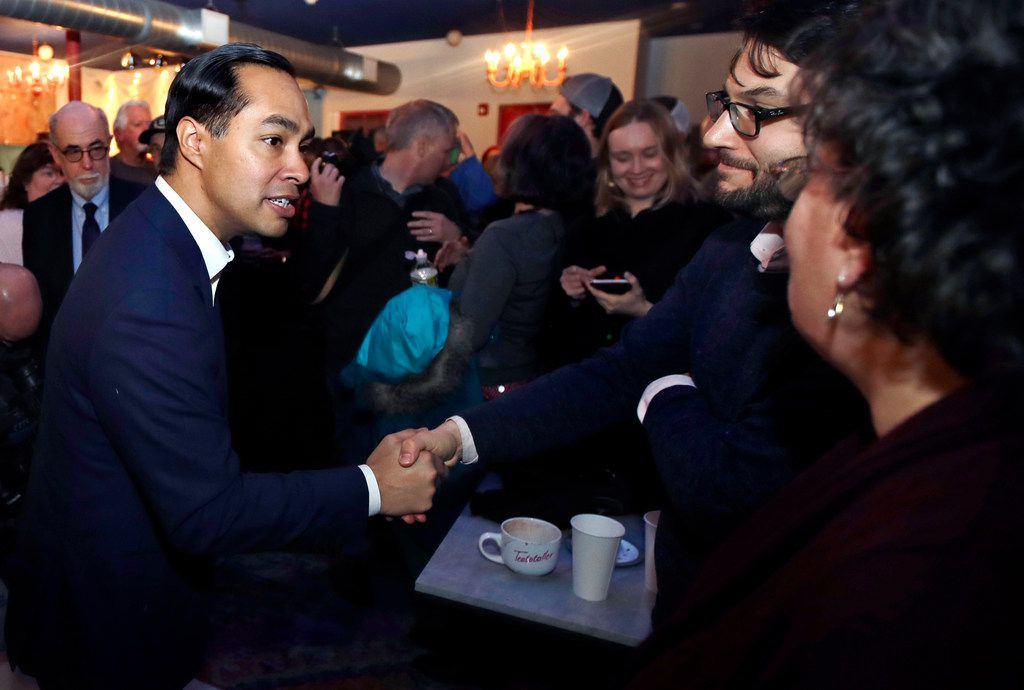 Julian Castro, former U.S. Secretary of Housing and Urban Development and a candidate for the 2020 Democratic presidential nomination, shook hands during a campaign gathering at a shop in Somersworth, N.H., on Tuesday, Jan. 15, 2019.
