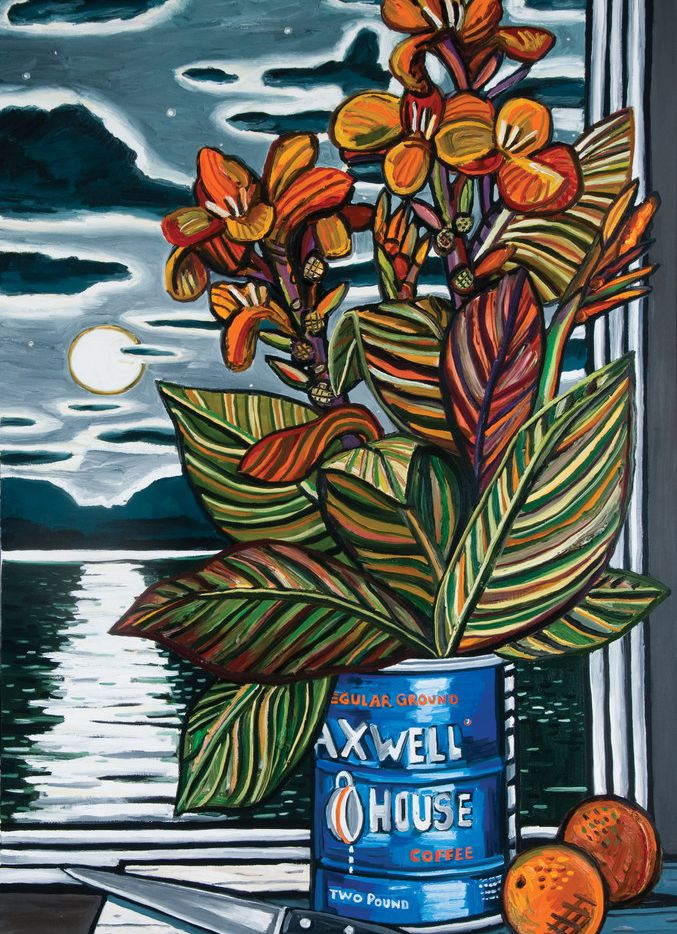 Cannas, by David Bates, is part of his 2018 show at the Tyler Museum of Art. David Bates (b. 1952). Cannas, 2003. Oil on canvas, 72 x 48 inches. Tyler Museum of Art Permanent Collection