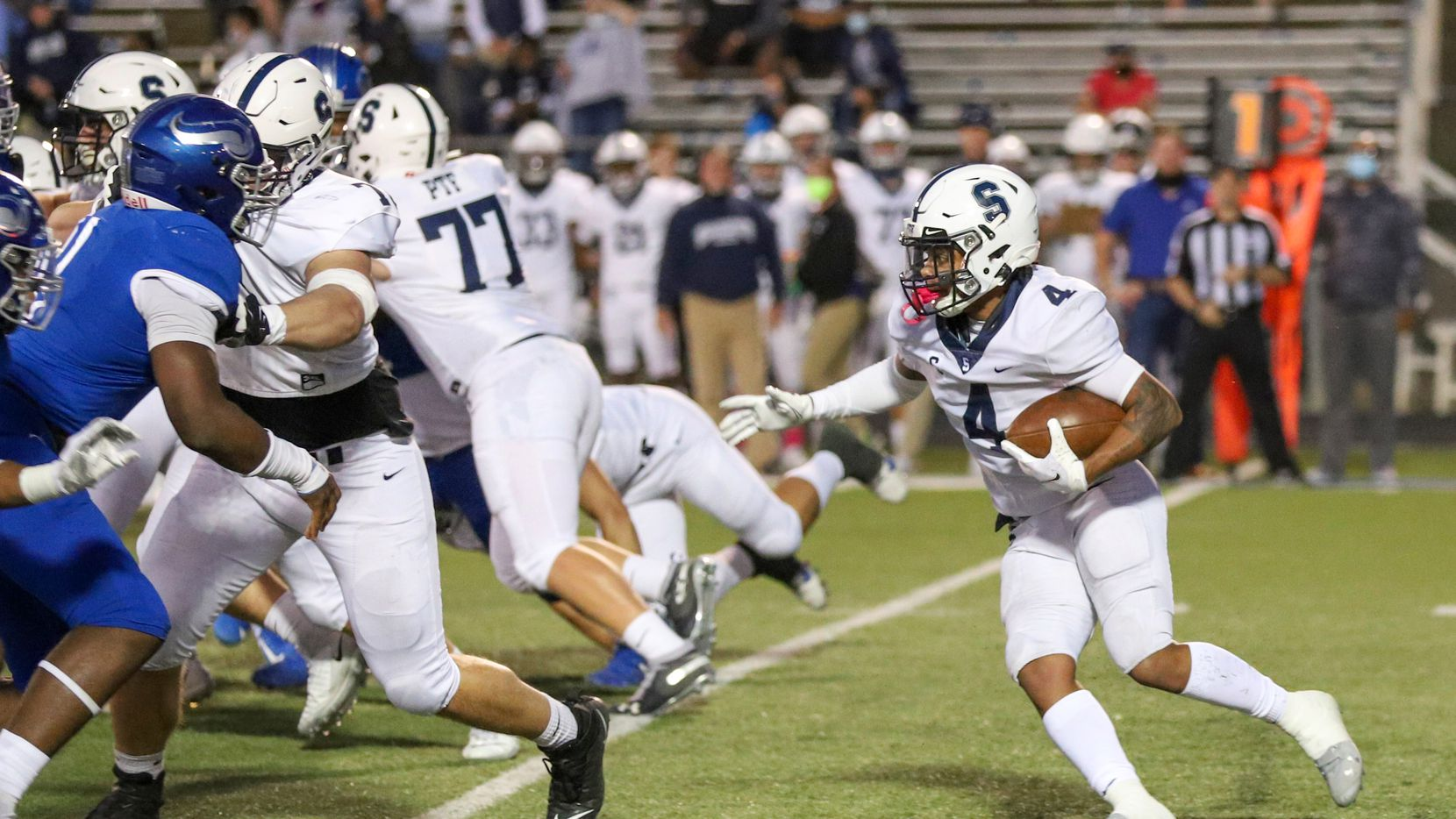 Fort Worth All Saints running back Montaye Dawson (4) is one of three SMU pledges who will take the field Friday, as Parish Episcopal hosts All Saints.