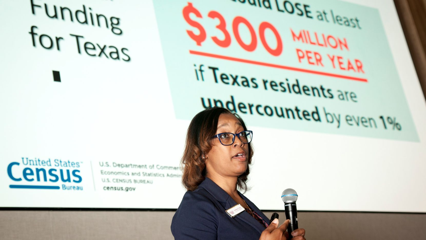 Tenishea Turner, a partnership specialist with the U.S. Census Bureau, speaks to 75 area nonprofits at a February census workshop at Capital One's Plano campus. The Collin County Business Alliance (CCBA) and Communities Foundation of Texas (CFT) hosted the event.