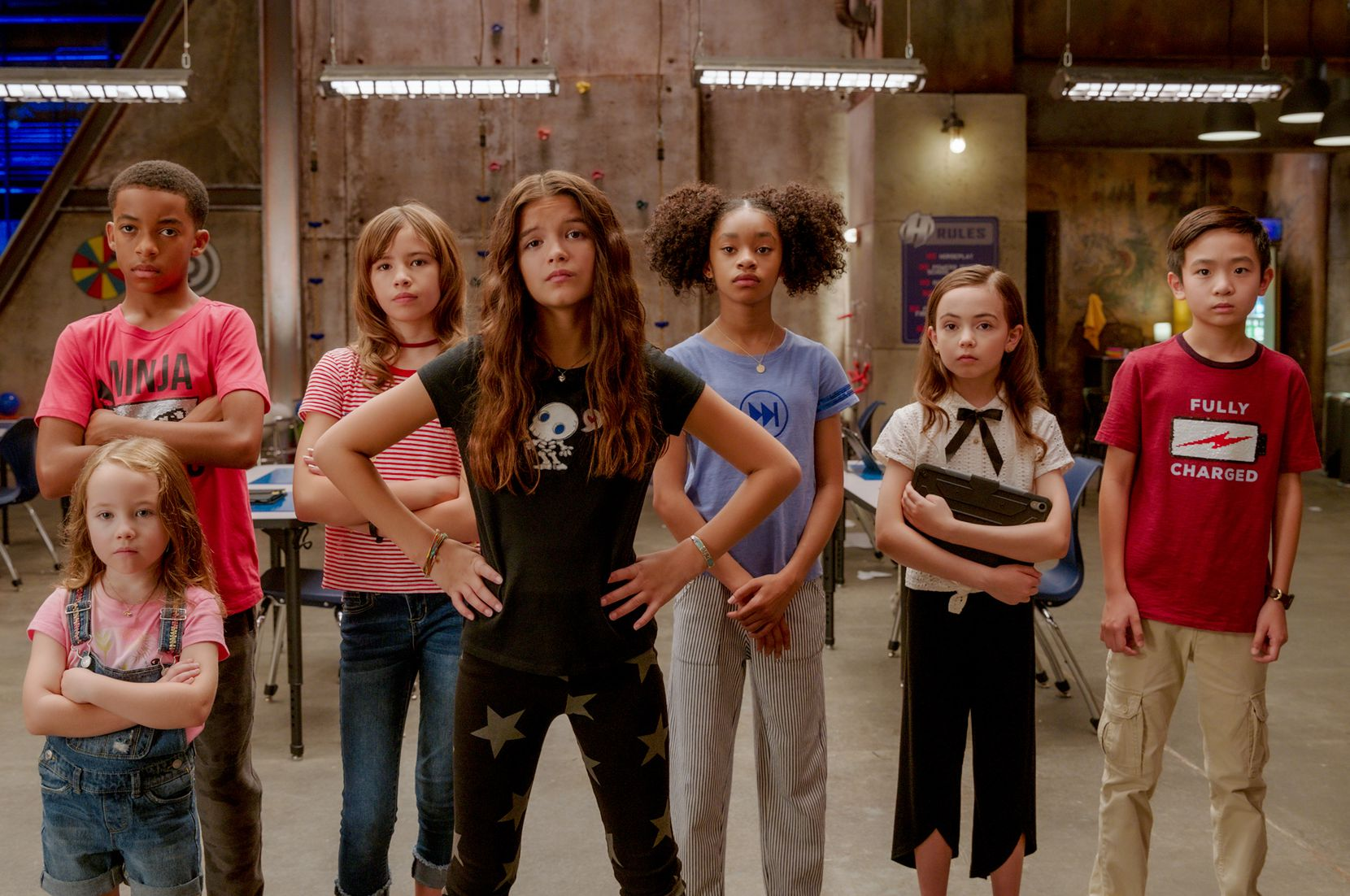 "Vivien Blair (from left), Isaiah Russell-Bailey, Lotus Blossom, YaYa Gosselin, Akira Akbar, Hala Finley and Dylan Henry Lau star as kid superheroes in ""We Can Be Heroes."""