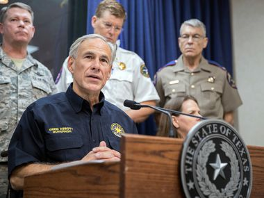Texas Gov.  Greg Abbott speaks during a press briefing Wednesday, Aug. 30, 2017, at the State of Texas Emergency Command Center in Austin, Texas as he updates the public about Harvey recovery plans.