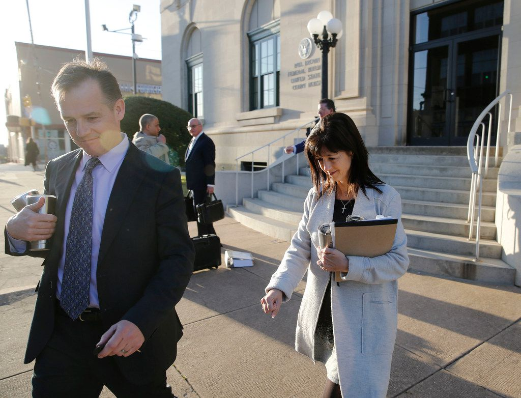 Mark Jordan and former Richardson Mayor Laura Jordan leave the Paul Brown Federal Building United States Courthouse in Sherman, Texas on Tuesday, February 12, 2019. The feds say Laura Jordan accepted money, gifts and other favors from Mark Jordan in exchange for voting for a controversial rezoning involving his large apt development in the city.