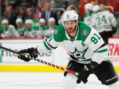 Dallas Stars center Tyler Seguin (91) plays against the Detroit Red Wings in the first period of an NHL hockey game, Sunday, Oct. 6, 2019, in Detroit.
