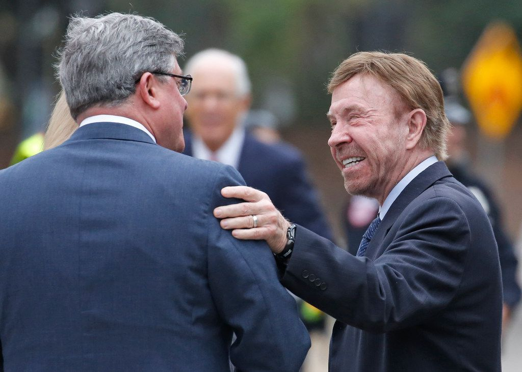 Actor and martial arts expert Chuck Norris is pictured as he attends the funeral service for George H.W. Bush, the 41st President of the United States, at St. Martin's Episcopal Church in Houston on Thursday, December 6, 2018. (Louis DeLuca/The Dallas Morning News)