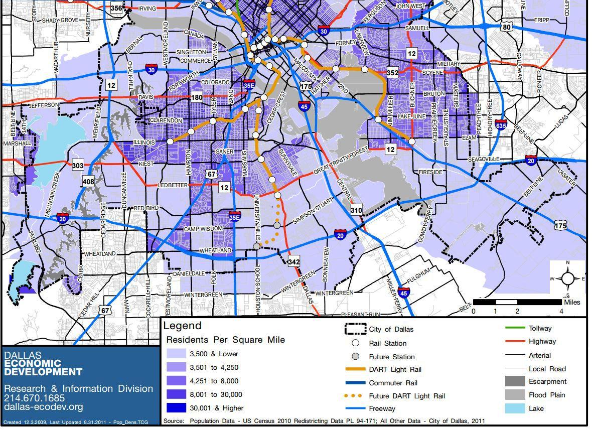 Population density is higher west of Interstate  35.