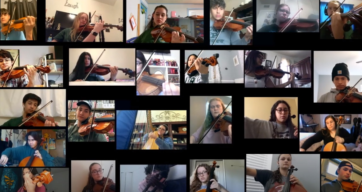 """Mesquite Poteet orchestra members play """"Somewhere Over the Rainbow"""" as a tribute to the 2020 graduating class."""
