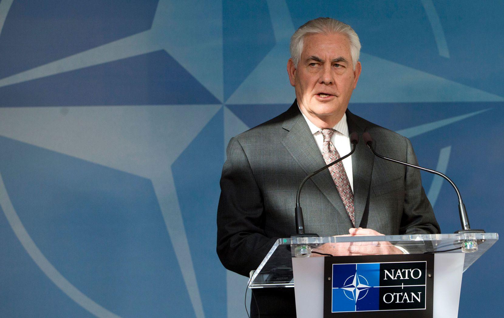 U.S. Secretary of State Rex Tillerson addresses the media within a North Atlantic Council (NAC) meeting at the level of Foreign Ministers, at NATO headquarters in Brussels on March 31, 2017. Tillerson headed to Brussels on March 31 to push President Donald Trump's demand for NATO allies to boost defense spending.