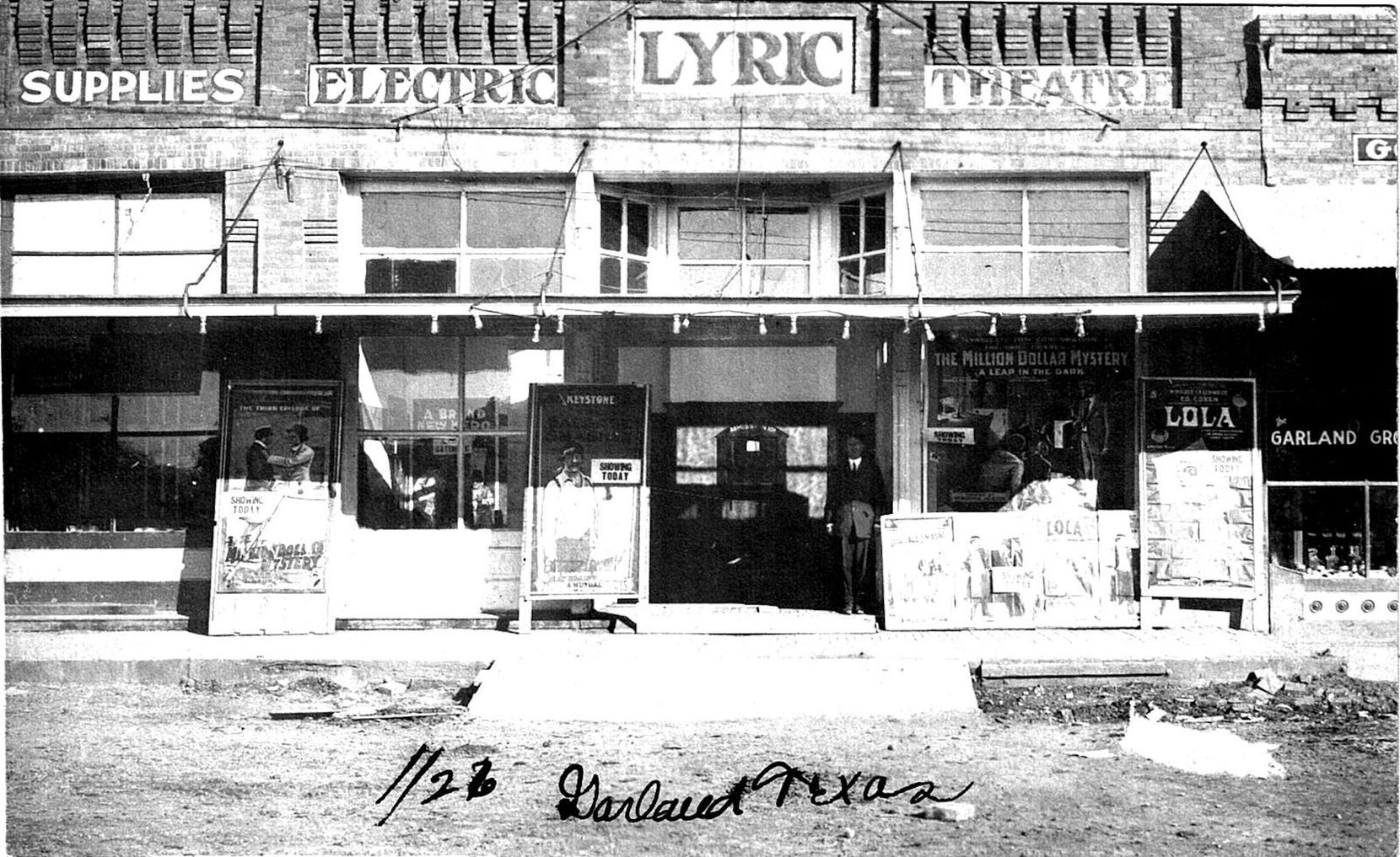 The Lyric Theatre opened in the Murphy building on the north side of Garland's downtown square in 1914. Tickets for the silent films shown in this photo from the Garland Landmark Society Archives were 10 cents each.