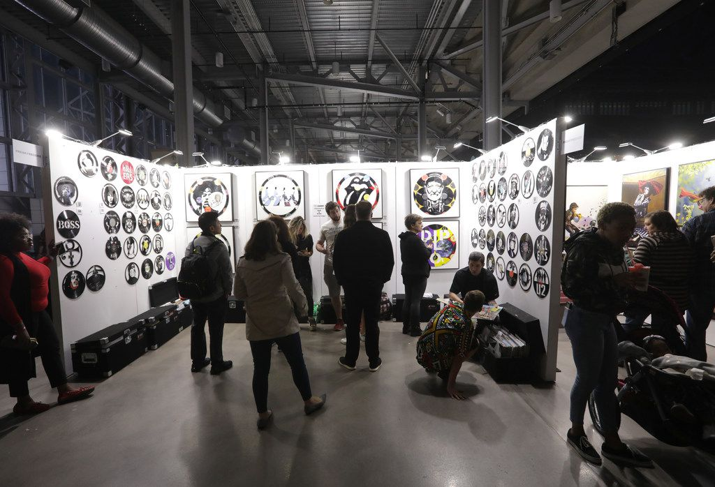 Guests browse the art galleries during Kaaboo Texas at AT&T Stadium in Arlington, TX, on May 10, 2019.