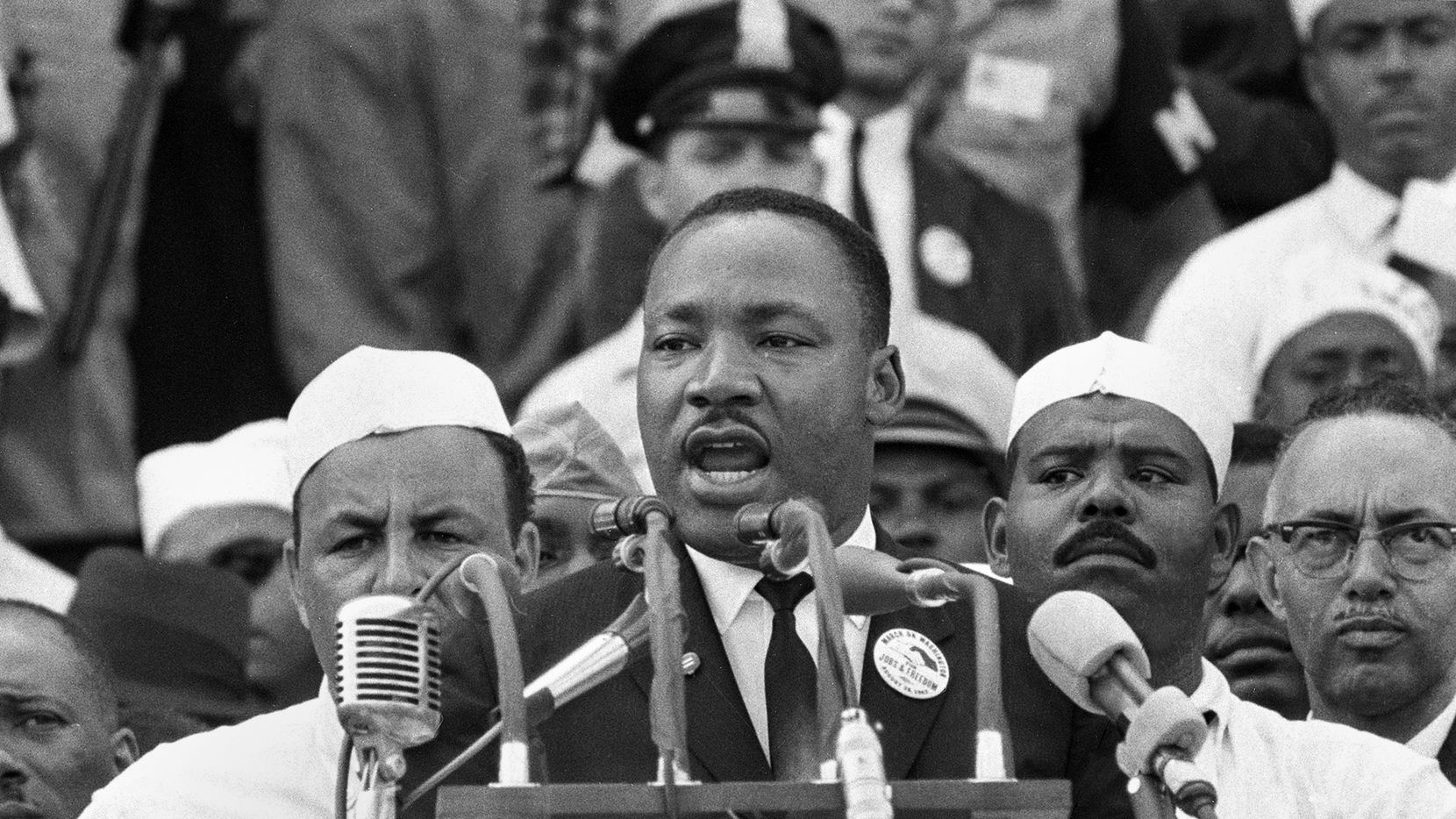 "In this Aug. 28, 1963 photo, Dr. Martin Luther King Jr., head of the Southern Christian Leadership Conference, addresses marchers during his ""I Have a Dream"" speech at the Lincoln Memorial in Washington. (AP Photo/File)"