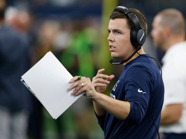 Dallas Cowboys offensive coordinator Kellen Moore on the sideline during the second half of play at AT&T Stadium in Arlington, Texas on Sunday, September 8, 2019. Dallas Cowboys defeated the New York Giants 35-17 in the home opener.