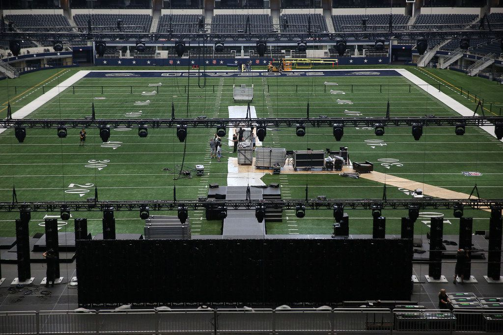 A view of the arena as crews setup for Harvest America, which is Sunday night at AT&T Stadium. The Christian evangelistic outreach event includes top Christian music artists and a message form pastor Greg Laurie.