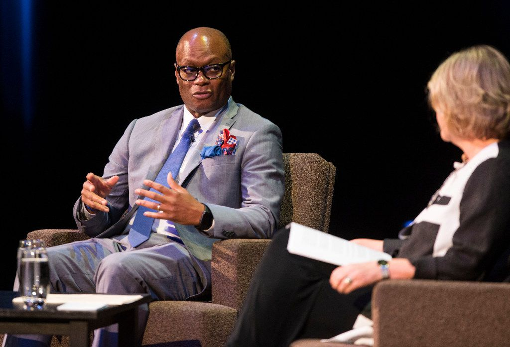 Keven Ann Willey interviewed retired Dallas Police Chief David Brown in June during the debut event of Brown's tour for his biography, Called To Rise: A Life in Faithful Service to the Community That Made Me. (Ryan Michalesko/The Dallas Morning News)