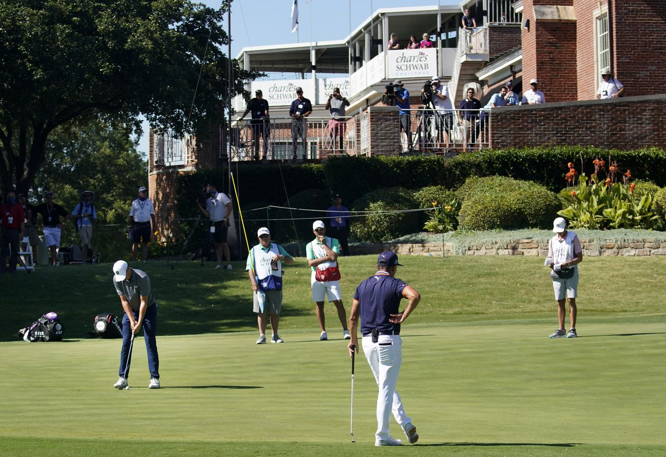 With only the media and volunteers looking on, PGA Tour golfer Jordan Spieth attempts a birdie putt on the par-3, No. 16 during the opening round of the Charles Schwab Challenge at the Colonial Country Club in Fort Worth, Thursday, June 11, 2020.  The Challenge is the first tour event since the COVID-19 pandemic began. (Tom Fox/The Dallas Morning News)