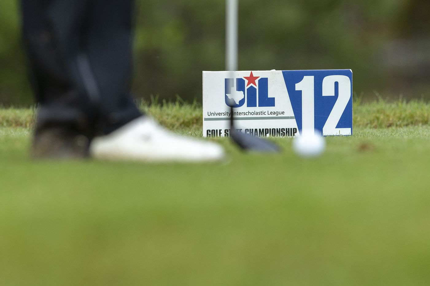 Highland ParkÕs Thompson Huthnance prepares to hit from the 12th tee box during round 1 of the UIL Class 5A boys golf tournament in Georgetown, Monday, May 17, 2021. (Stephen Spillman/Special Contributor)