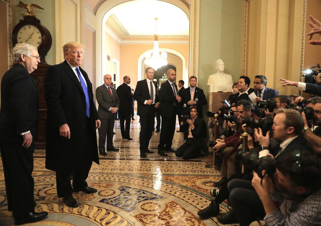 President Donald Trump speaks to reporters as U.S. Senate Majority Leader Sen. Mitch McConnell, R-Ky., looks on at the U.S. Capitol before joining Senate Republicans for their weekly policy luncheon March 26, 2019 in Washington, D.C. After the conclusion of special counsel Robert Mueller's investigation, Trump is meeting with lawmakers to chart a legislative course for the next two years of his administration.  (Photo by Chip Somodevilla/Getty Images)