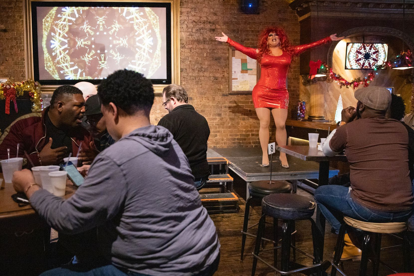 Cassie Nova gave it her all at JR's Bar and Grill in Dallas on Dec. 12, 2020, during the first drag show since pandemic restrictions began.