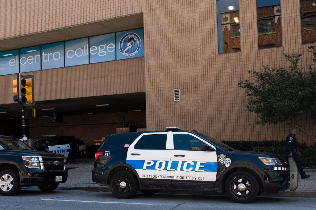 Dallas County Community College District police outside El Centro College on Tuesday.