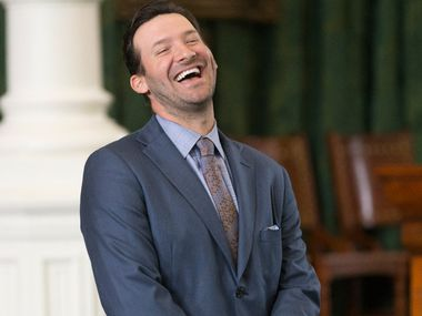 Former Dallas Cowboys quarterback Tony Romo smiles as he is recognized by the Senate at the Texas Capitol in Austin, Wednesday, May 3, 2017. (Stephen Spillman/Special Contributor)
