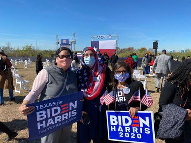 Neel Gonuguntla, Zulikha Hussain and Chanda Parbhoo, from left to right, at Kamala Harris' rally in Fort Worth in October. The women hailed the historic election of Kamala Harris as vice president. She will be the first woman, first Indian American and first Black American to serve in that office.