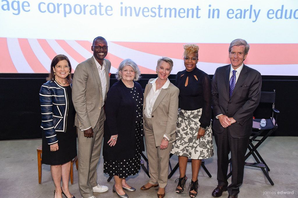 From left, Tori Mannes, head of ChildCareDallas, with panelists Drexell Owusu, Laurie Larrea, panel moderator Susan Hoff, Tobitha Holmes and Rob Walters after Wednesday night's event. (James Edward)