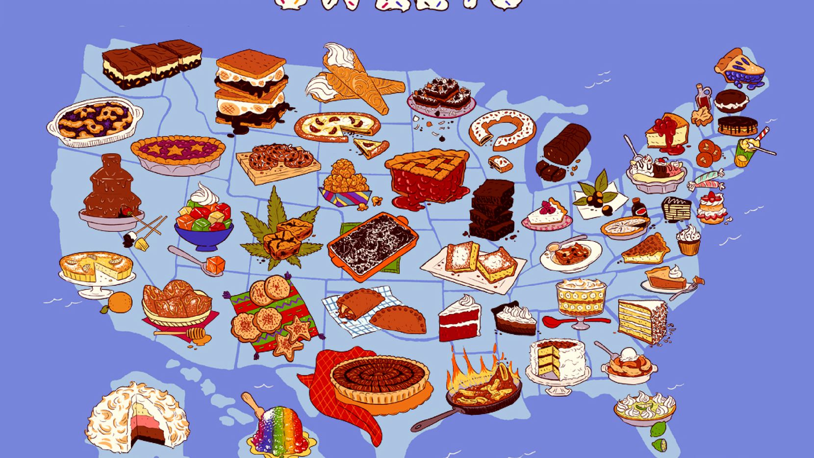 Each state ought to claim its own dessert, even as we all praise apple pie as the ultimate symbol of Americana. Surprisingly, only eight states have an official dessert; so the author has offered the other 42. Illustrates STATES-DESSERT (category l), by L.V. Anderson (c) 2014, Slate. Moved Wednesday, Aug. 27, 2014. (MUST CREDIT: Slate illustration by Jess Fink)