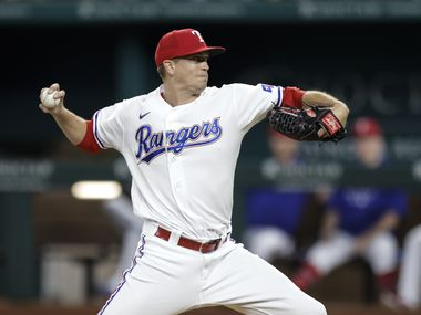 Texas Rangers starting pitcher Kyle Gibson (44) throws during the first inning of a baseball game against the Oakland Athletics in Arlington, Monday, June 21, 2021.