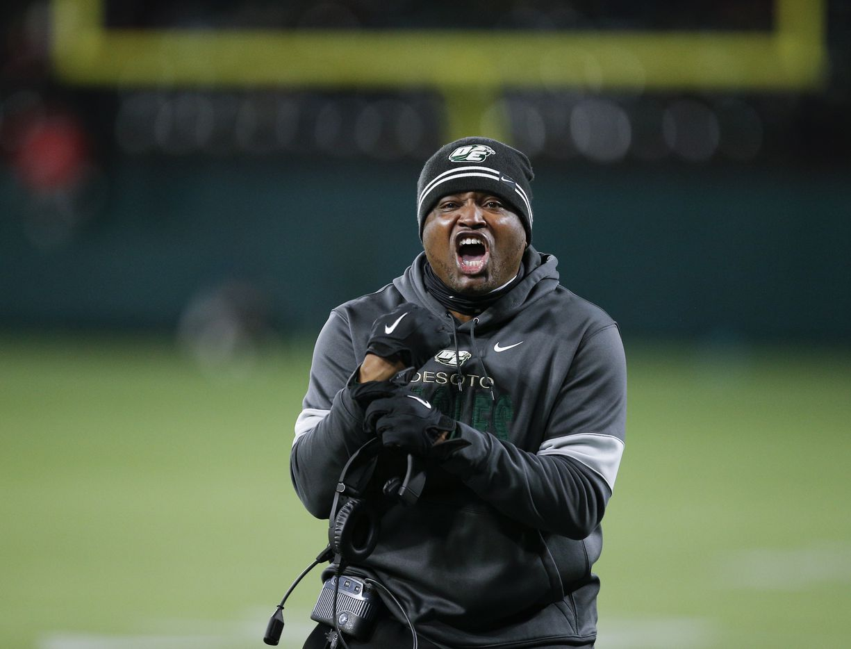 DeSoto head coach Claude Mathis argues for a holding call during the first half of a Class 6A Division I Region II final high school football game against Duncanville, Saturday, January 2, 2021. (Brandon Wade/Special Contributor)
