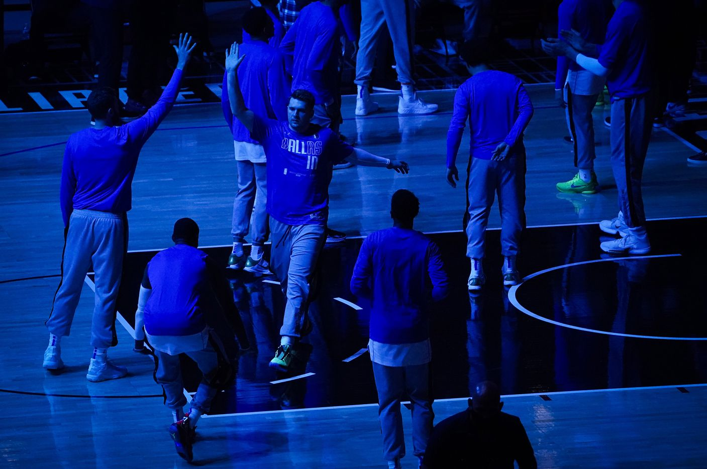 Dallas Mavericks guard Luka Doncic takes the court before an NBA playoff basketball game between the Dallas Mavericks and the LA Clippers at Staples Center on Saturday, May 22, 2021, in Los Angeles.