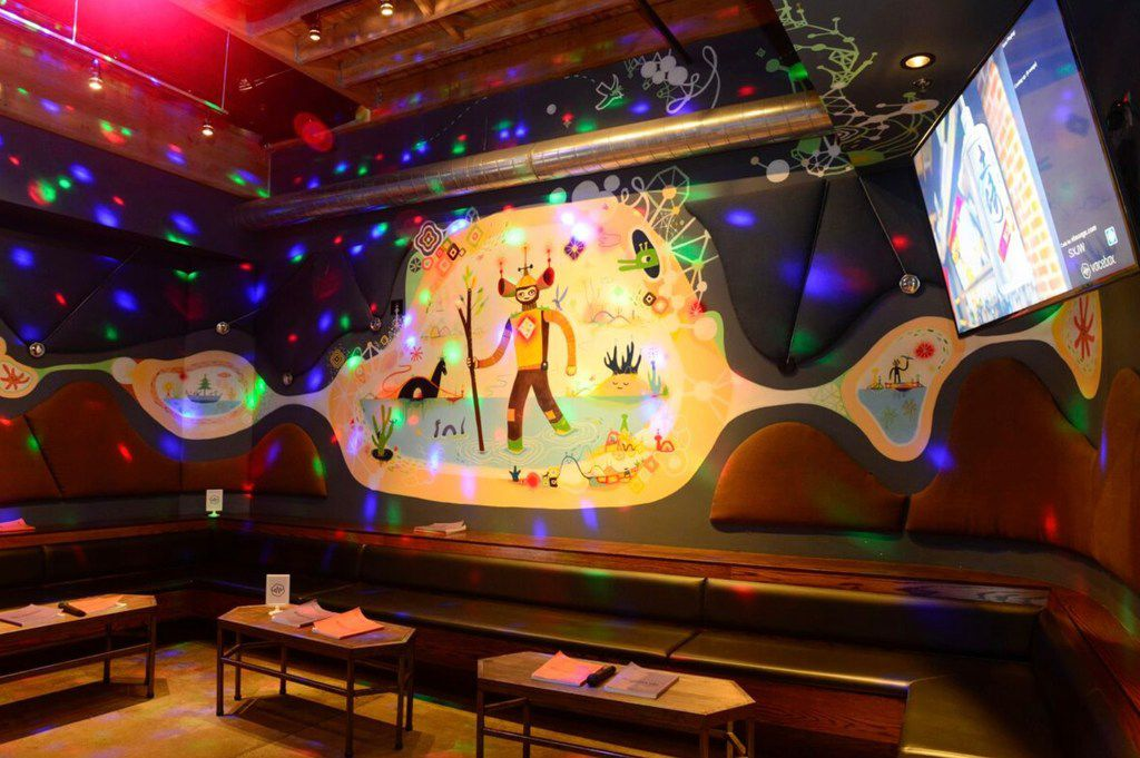 The karaoke chain features private rooms along with a menu of food and a full bar.